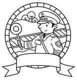Funny railroader. Coloring book. Emblem Royalty Free Stock Images
