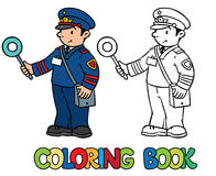 Funny railroader. Coloring book Stock Photography