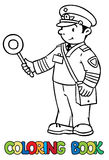 Funny railroader. Coloring book Royalty Free Stock Photography