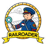 Funny railroader. Emblem. Profession ABC series Royalty Free Stock Photography