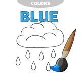 Funny Rain Weather to be colored, coloring book for preschool kids. Cartoon vector illustration. Coloring page - learn the color blue royalty free illustration