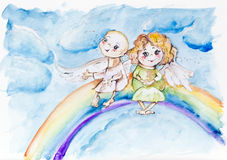 Funny rainbow angels. Funny rainbow  angels kids on sky concept. Handmade watercolor painting illustration on a white paper art background Royalty Free Stock Images