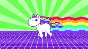 Funny rainbow unicorn running loop. Bright and colorful pony gallop. Pop-art virus video.