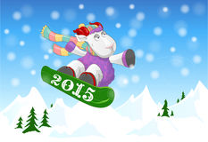 Funny ram  riding a snowboard 2015 Stock Photo