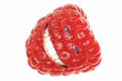 Funny Raspberry. Funny laughing Raspberry. Isolated over white background Royalty Free Stock Photo