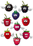 Funny raspberry, blueberry and blackberry. Funny cartoon ripe red strawberry, blue blueberry and black blackberry fruits characters on white background stock illustration