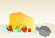 Funny rat and cheese Royalty Free Stock Photography