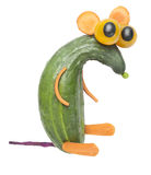 Funny rat made of cucumber Stock Photography