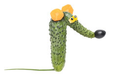 Funny rat made of vegetables Stock Images