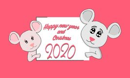Funny rat with a sheet of paper. The symbol of the Chinese 2020. Happy New Year. White Metal Rat Chinese year symbol. Mouse vector illustration