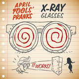 Funny X-ray Glasses for Pranks in April Fools' Day, Vector Illustration. Funny X-ray glasses ad in a notebook that really works ready to be worn in April Fools' Royalty Free Stock Photo