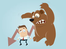 Funny recession cartoon with man and bear. Recession cartoon with man and bear Stock Image