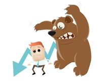 Funny recession cartoon with man and bear Royalty Free Stock Photography