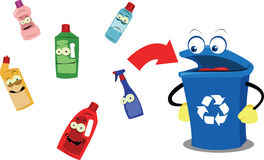 Funny Recycling Bin and Plastic Bottles Stock Photo