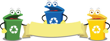 Funny Recycling Bins. A  cartoon representing some funny recycling bins keeping a blank banner Royalty Free Stock Images