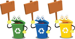 Funny recycling bins and signs Royalty Free Stock Image