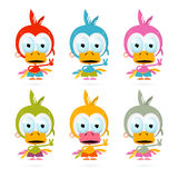 Funny Red Bird - Chicken - Duck Illustration Set Royalty Free Stock Photography
