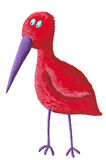 Funny red bird with purple beak Stock Photo