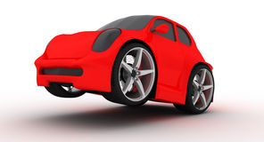 Funny red car on white background. Render concept of cartoon car Royalty Free Stock Photos