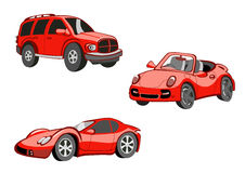 Funny  red  cars Royalty Free Stock Photo