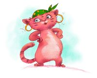 A funny red cat character for fairy tale Stock Photography