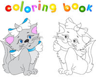 Funny red cat. Vector illustration for children. Coloring book for kids Royalty Free Stock Photo