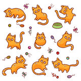 Funny red cats. Set of funny red cats and cat`s toys, vector illustration isolated on white background Royalty Free Stock Photo