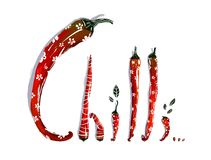 Funny Red Chilli Pepper Pods Lettering Stock Images
