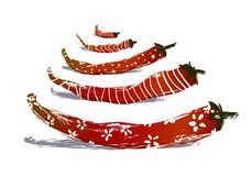 Funny Red Chilli Pepper Pods Stock Images
