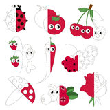 Funny Red Color Objects, the big kid game to be colored by example half. Funny Red Color Objects, the big collection coloring book to educate preschool kids vector illustration