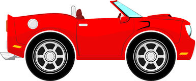 Funny red convertible car Stock Photos