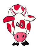 Funny red cow. Acrylic illustration of funny red cow Royalty Free Stock Photos