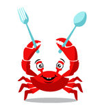 Funny red crab cartoon holding spoons for food flavor concept Stock Images