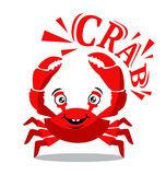 Funny red crab cartoon with text for food flavor concept Stock Photos