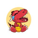 Funny red dragon in cartoon style royalty free stock photography