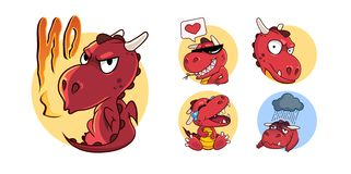 Funny red dragon set in cartoon style royalty free stock photo