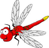 Funny red dragonfly cartoon Stock Images