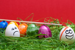 Funny red easter background Stock Photos