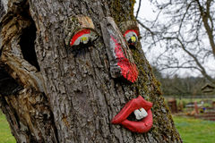 Funny red face on tree bark Stock Image