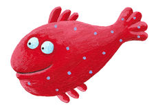 Funny Red Fish. Acrylic illustration of Funny Red Fish Royalty Free Stock Images
