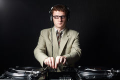 Funny red haired DJ Stock Images