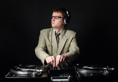 Funny red haired DJ Stock Photos