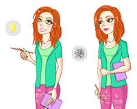 Funny red-haired girl. Back to school. stock illustration