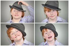 Funny red haired guy collage Royalty Free Stock Photos