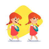 Funny red-haired little girl going with a backpack. stock photo