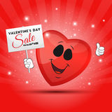 Funny red heart with placard Stock Photography