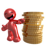 Funny red icon with gold coins stock illustration