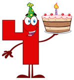 Funny Red Number Four Cartoon Mascot Character Holding Up A Birthday Cake Stock Image