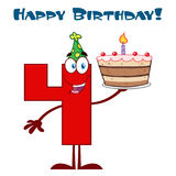 Funny Red Number Four Cartoon Mascot Character Holding Up A Birthday Cake Royalty Free Stock Images