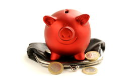 Funny red Pig Piggy with old fashioned purse Stock Photography